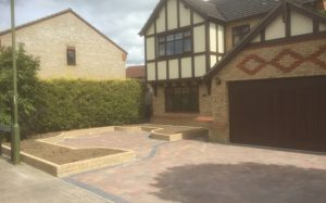Block Paved Driveway and Decorative brick flower beds. Bishops Stortford Herts