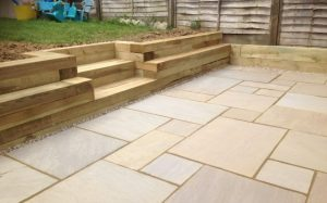 Retaining wall and steps constructed from softwood sleepers Bishops Stortford Herts