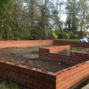 Brickwork complete ready to construct Cart Lodge