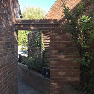Brickwork constructed to create a a gate way at the side of the property. Bishops Stortford, Herts