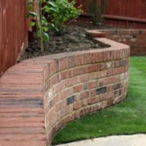 Curved Retaining wall. Dunmow, Essex